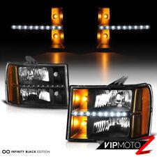 "2007-2013 GMC Sierra 1500 2500HD 3500HD Denali ""LED Strip"" Black Headlights Lamp"