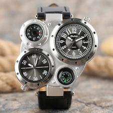OULM Dual Time Zones Big Dial Leather Band Strap Men Military Quartz Wrist Watch