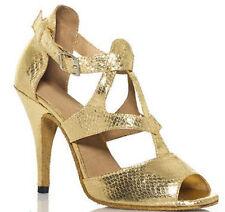 New Women Gold Snakeskin Print Latin salsa dance shoes High Heels ALL SIZE