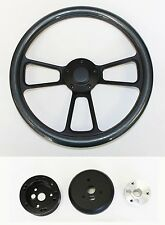 "14"" Steering Wheel Carbon Fiber & Black Shallow Dish 65-69 Mustang Plain Center"