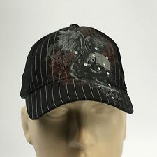 MMA Elite Cap Hat Mixed Martial Arts Skull Pinstripe Studs Baseball Lid One Size