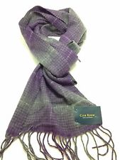 $425 CLUB ROOM Mens GRAY PURPLE PLAID CHECK WARM WINTER CASHMERE SHAWL SCARF