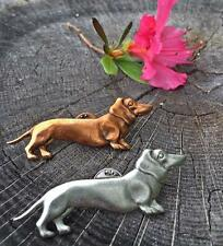 Dachshund dog Lapel Pin antique silver finish great quality made in the USA
