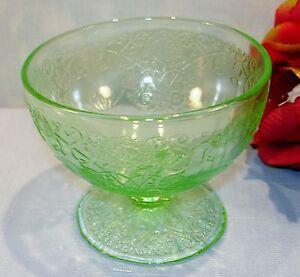 Green Depression Glass Hazel Atlas Florentine No. 1 Footed Sherbets