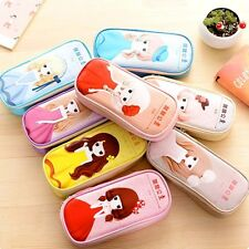 Big Faux Leather Zipper Kawaii Princess Pen Pencil Case Storage Bag Pouch Holder