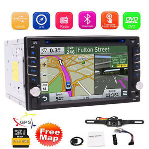 Backup Camera&GPS Double 2*Din Car Stereo Radio CD DVD Player Bluetooth + US Map
