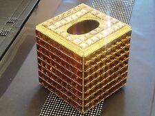 Bling Gold Square Diamante Diamond Crystal Tissue Paper Case Box Holder Refill