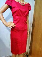 L.K. BENNETT DRESS SIZE UK 12 US 8 RED 100% VISCOSE