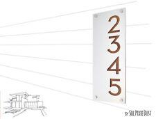 Modern House Numbers, Alucobond with Varnish Dark Oak Wood- Vertical 2