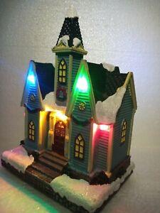 Christmas Village Scene Light Up Church Building 15cm Mini World Collectables