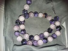 """KUNZITE and CHAROITE 10mm knotted, beaded Necklace 18"""" with 3 inch extender"""