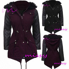 NEW Womens PLUS SIZE LADIES PARKA JACKET Quilted WINTER COAT Size 8-24 PU SLEEVE