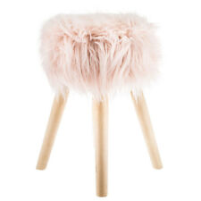 Girls Vanity Chair Pink Faux Fur & Wood Stool Kids Seat Child Diva Decor