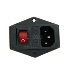1pc AC 250V 10A 3 Terminal Power Socket with Fuse Switch Holder Black Red