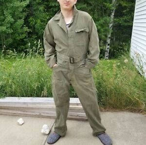 Vintage US Army Coveralls Jumpsuit, Mechanic Green, Military, 38 L