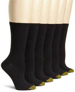 Gold Toe Women's 6-Pack Casual Ribbed Crew Sock, Black, Shoe, Black, Size 6.0