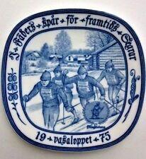 Rorstrand Sweden Vasaloppet 1975 X-Country (ski marathon) collectible blue plate