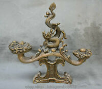 "12 ""Vieux Bronze Chinois Dragon Feng Shui Animal Loong Ru Yi Lucky Sculpture"
