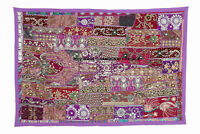 "60"" HUGE INDIAN HEAVILY BEADED ART DÉCOR VINTAGE SARI ZARI WALL HANGING TAPESTRY"
