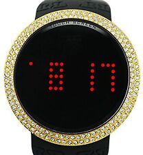 Iced Style Watch Bling Lab Diamond Gold Black Digital Touch Screen Rubber Band