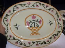 Jim Shore Heartwood Creek Platter 2002 Floral Pink Green Gold EUC