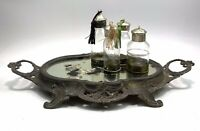 Antique French Rococco Mirrored Metal Display Stand Jardiniere Chateau Style
