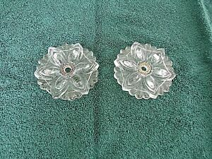 """Two Clear Pressed Glass Flower Curtain Tieback 4 1/4"""" x 5 1/2~Vintage~No Hardwar"""