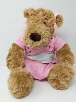 "Build A Bear Brown Tan Pink Shirt Skirt Bows Jewels Gems 18"""