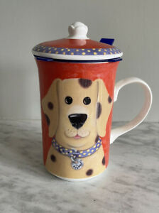 Whittard of Chelsea Dog Tea Mug 'woof' with Strainer. Fine Bone China