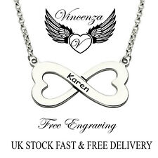 Personalised Infinity Style Heart Pendant Name Necklace, Silver Plated, Gift UK