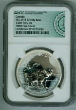 CANADA 2011 $5 GRIZZLY BEAR 1 OZ. .9999 SILVER NGC BU WITH MILKY TONING