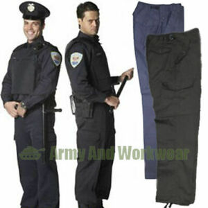 Police Security Guard Combat Cargo Trousers Work Pants 6 Pockets Army Style Mens