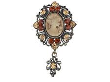 Elegant Light Dark Topaz Crystal Rhinestone Gems Cameo Maiden Custom Pin Brooch