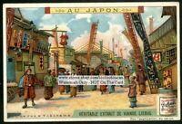 Old Yokahama Japan Street Rue Japanese c1905 Trade Ad Card