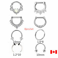 8PCS Surgical Steel Opal CZ rose Ring nose clipper body piercing punk jewelry