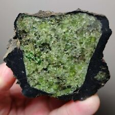 Museum Lava Coated Volcanic Bright Green Olivine Bomb Crystal Mineral, Mortlake