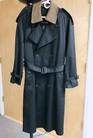 Men's Pierre Cardin Full Length Trench Coat With Leather Collar & Belt Black 38R