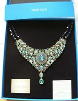 HEIDI DAUS BLUE & TURQUOISE BIB CRYSTAL  2 STRAND BEAD NECKLACE NEW IN BOX
