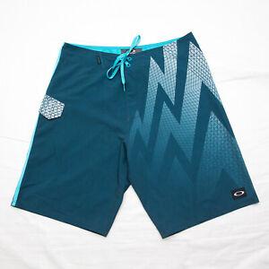 "Oakley Mens Turquoise Blue white Board Swim Shorts Size 32 10"""