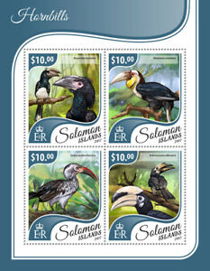 Solomon Islands Birds on Stamps 2017 MNH Hornbills Red-Billed Hornbill 4v M/S