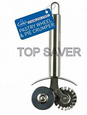 Stainless Steel Pastry Wheel Pie Crumper Roller Pizza Cutter Dough Tools Crimper