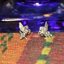 Vintage New Sterling Silver Jewelry Pegasus Flying earrings Butterfly back
