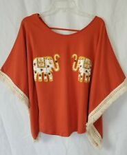 Women's Size S/M Orange Elephant Tribal Embroidered Shirt Fringe Top Boho Blouse