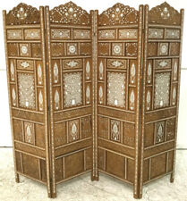 India 4-panel Bone Inlay Carved Screen Lot 2286
