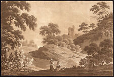Antique Master Print-LANDSCAPE-WOMAN-RUIN-TREE-SHEEP -Anonymous-c. 1770