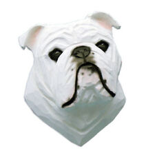 English Bulldog Head Plaque Figurine White