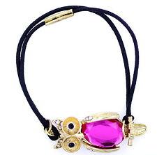 Preciosa De Oro Y Rosa De Cristal Con Dibujo De Búho Pulsera Elástica, elástico hairband