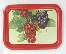 Set of 4 Vintage metal tea or sandwich tray 10.5 x 14�, red w/grapes and leaves