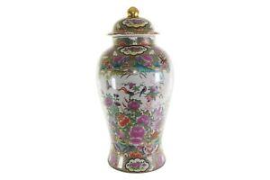 "Beautiful Chinese Floral Rose Medallion Porcelain Temple Jar 18"""