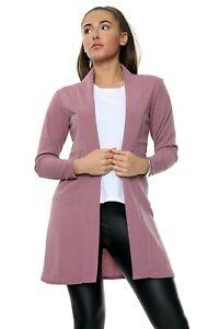 Womens Ladies Open Front Casual Soft Touch Coat Boyfriend Cardigan S/M-M/L-L/XL